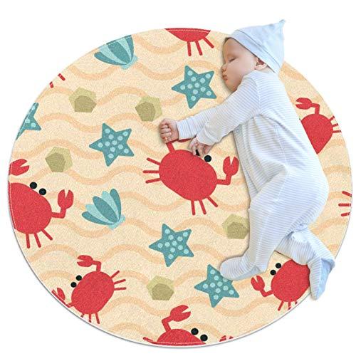HDFGD Alfombra decorativa para sala de estar, redonda, alfombra de yoga, lavable, diseño de conchas de mar