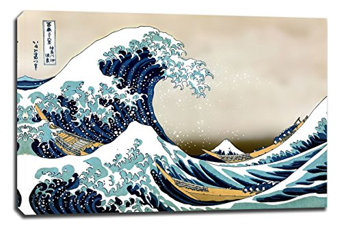 Cuadro lienzo LA GRAN OLA DE KANAGAWA Hokusai bastidor