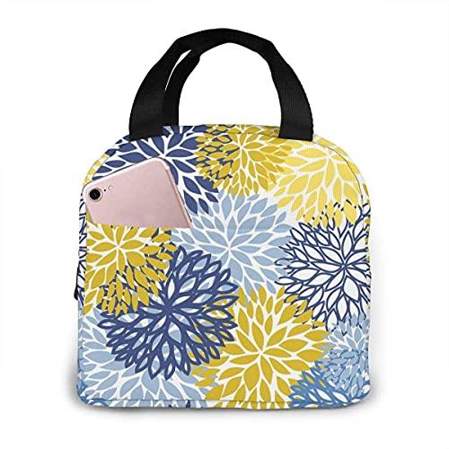 Bolsa de almuerzo portátil Dahlia Pinnata Flower Floral Azul Amarillo Impermeable Reutilizable Durable Fiambrera Aislada para Hombres Mujeres Viaje de Trabajo Escolar