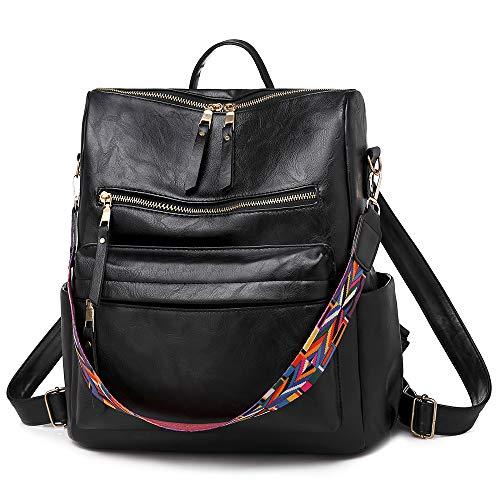 Zaino da donna in pelle PU da donna casual borsa a tracolla zaino da viaggio con cinturino colorato - nero - Large