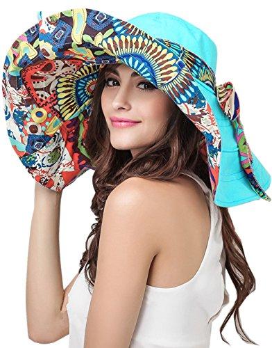 Women's Foldable Floppy Reversible Travel Beach Sun Visor Hat Wide Brim UPF 50+ Blue