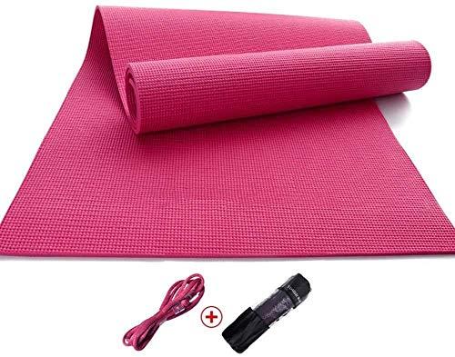 Große dicke rutschfeste Yogamatte 8 mm PVC rutschfeste Yoga-Matte Fitness-Tanzmatte for Anfänger mit Gurt 2 Farben (Farbe: braun) rosa bester Übung Geschenk, auch for die Ausübung / Turnhalle / Campin