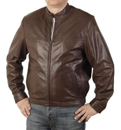 Simons Leather Blouson Homme col Montant Cuir Fin Marron - Taille 2XL