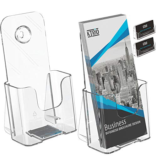 Ktrio 2 Pack Brochure Holder Acrylic Brochure Holders 4 x 9 Inches, Plastic Flyer Holder Clear Literature Holder Desk or Wall Mount