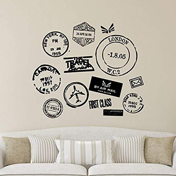 BYRON HOYLE Wall Quotes Travel Series Postmarks Vinyl Wall Decal Travel Wanderlust Mail Passport Stamp Motivational Inspiration Quote London New York
