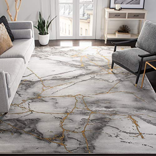 SAFAVIEH Craft Collection CFT877F Modern Abstract Non-Shedding Living Room Bedroom Dining Home Office Area Rug, 8' x 10', Grey / Gold