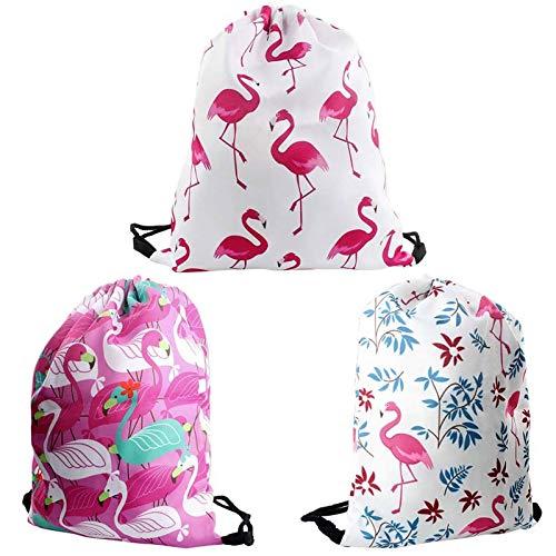 Dadabig 3 Stück Turnbeutel Rucksack, Flamingo Sportbeutel mit Kordelzug Gym Bag Hipster Große Kapazität Verschleißfeste Sport Tasche Schule Kindergargen Sporthalle für Kinder Mädchen Junge(3 Farben)