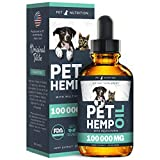 Pet Nutrition - Hemp Oil Dogs Cats - 100 000 MG - Helps Pets with Anxiety, Pain, Stress, Sleep, Arthritis, Seizures Relief - Hip Joint Health - 100% Natural Pure Drops, Organic Calming Treats (60 ml)