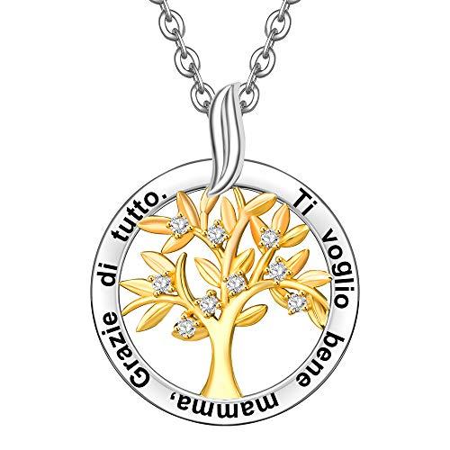 collana donna 40 anni ENGSWA Collana Donna Incisione Argento 925 Ciondolo Albero Genealogico della Vita Regalo Mamma Madre