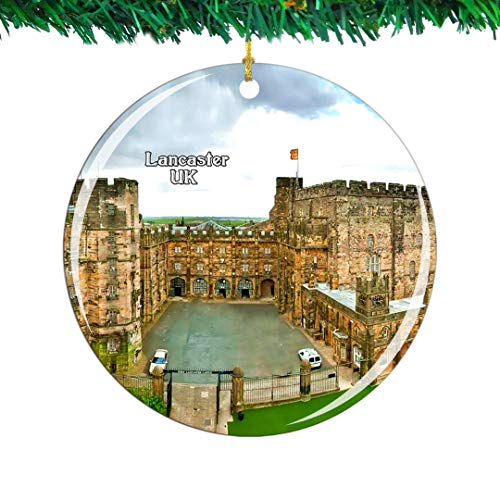 Weekino UK England Lancaster Castle Christmas Ornament City Travel Souvenir Collection Double Sided Porcelain 2.85 Inch Hanging Tree Decoration