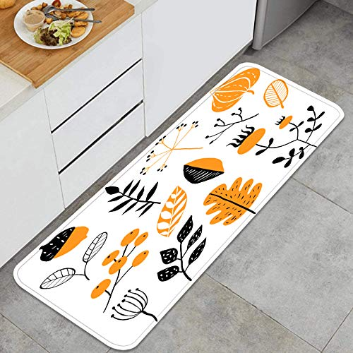 ZUL Juegos de alfombras de Cocina Multiusos,Vector Set Doodle Elementos Florales otoño,Alfombrillas cómodas para Uso en el Piso de Cocina súper absorbentes y Antideslizantes