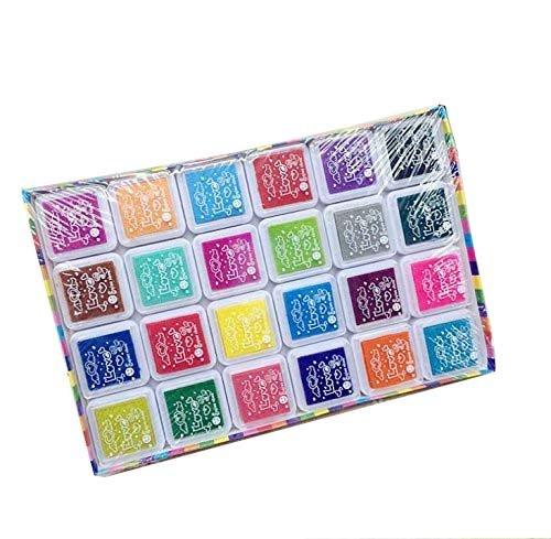 Fanaticism Stempel Tinte,24 Farben,Stempelkissen Set,Stempelkissen fuer Papier Handwerk Stoff