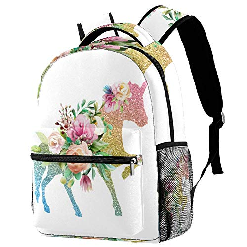Backpack For Kids Sequin Unicorn And Flower Backpack Print For School/Travel