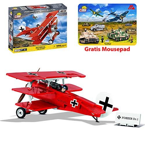 COBI Spielzeig Bausteine Konstruktion Flugzeug Kampfjet Jet Fokker Dr.1 Rote Baron 2974 + Mauspad von Juminox Gratis