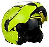 Soxon SF-99  Motorrad Klapp-Helm, ECE Sonnenvisier Schnellverschluss Tasche, S (55-56cm), Neon Gelb