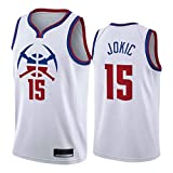 PQMW Nuggets # 15 Jokic Jersey para hombre 2021 Nueva Temporada Blanco Bonus Edition Basketball Swingman Camisetas Transpirables Vest Fan XL (85~95kg)