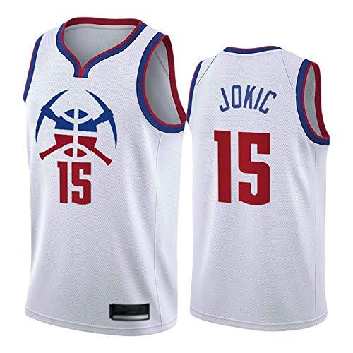 Nuggets # 15 Jokic Jersey para hombres, 2021 Nueva Temporada Blanca Bonus Edition Baloncesto Swingman Jerseys, Chaleco transpirable Fans XL (85 ~ 95 kg)