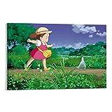 DRAGON VINES Marco de pintura de lienzo para dormitorio, sala de estar, diseño de Totoro Mei con texto en inglés 'My Neighbor Totoro Mei' (30 x 45 cm)