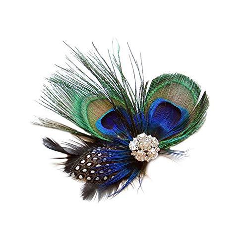 Tocado de plumas de pavo real con plumas para el pelo, para mujeres y niñas