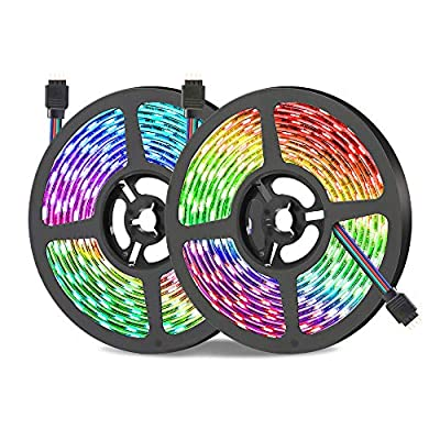 FIFADE LED Strip Lights - 5M/16.4 Ft SMD 3528 RGB 300 LED Color Changing Kit with Flexible Strip Light, 24 Key IR Remote Control, Power Supply
