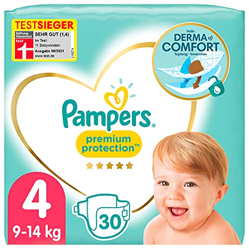 Pampers Baby Windeln Größe 4 (9-14kg) Premium Protection, 30 Stück, Pampers Weichster Komfort Und Bester Hautschutz