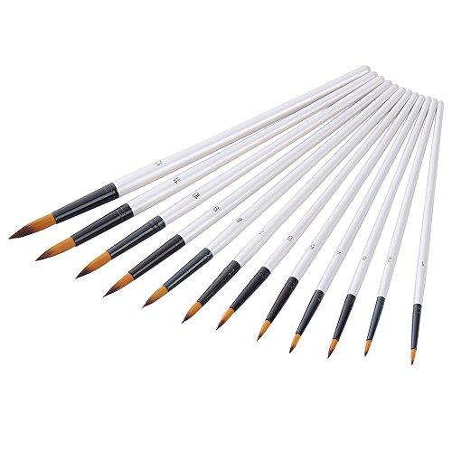 Mudder 12 Stück Künstlerpinsel feine Pinsel für Acryl Aquarell Ölmalerei, Weiß