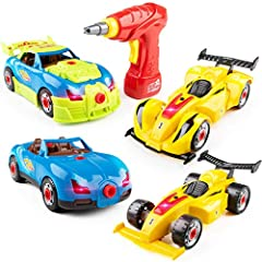 2 PACK RACE CAR STEM TOYS FOR KIDS: Build your own race car kit is a 2-pack toy car set with 52 pieces; these educational toys for boys and girls include a 2-way toy drill for hands-on engineering fun 52 PCS EASY TO ASSEMBLE CONSTRUCTION TOYS SET: Th...