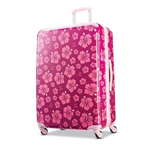 American Tourister Life is Good Hardside Luggage with Spinner Wheels, Hibiscus, Checked-Large 28-Inch