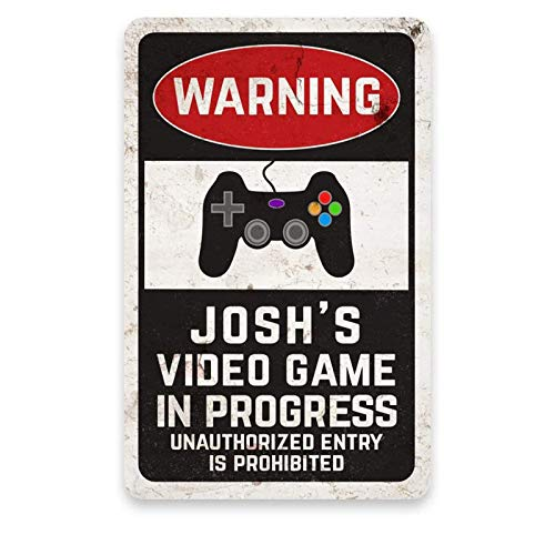 aianhe Video Game in Progress Sign Game Room Decor Personalized Name Metal Wood Welcome Sign Retro...