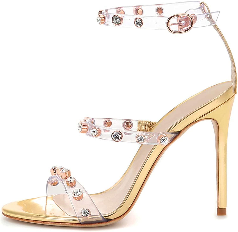 Women's Fashion PVC Rhinestone Stud Stiletto High Heel Sandals for Wedding, Evening Party, Prom
