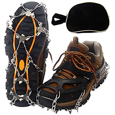 Mounchain Crampons, 19 Stainless Steel Spikes Traction Cleats, Ice & Snow Grips for Safe Outdoors, Such as Climbing, Hiking, Walking, Jogging (XL)