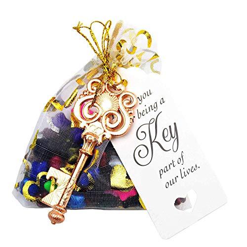 Makhry 50 stks Uil Vormige Vintage Sleutel Flesopener Bruilofts Cadeau Souvenir Set Bedankt Tags Trekkoord Cadeau Tassen (Rose Goud)