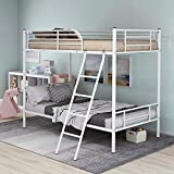 Twin Over Twin Metal Bunk Bed Heavy Duty Bed Frame with Safety Guard...