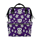 MAPOLO Gray Owls On Purple Diaper Backpack Large Capacity Baby Bag Multi-Function Nappy Bags Travel Mom Backpack for Baby Care