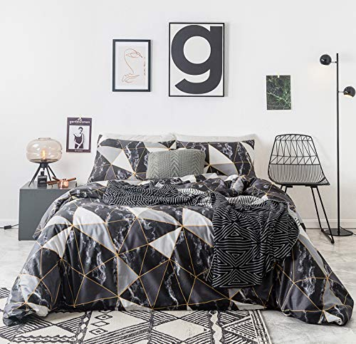 YuHeGuoJi 3 Pieces Duvet Cover Set 100% Cotton King Size Gray Geometric Bedding Set 1 Triangle Marble Print Duvet Cover with Zipper Ties 2 Pillowcases Hotel Quality Soft Lightweight Breathable