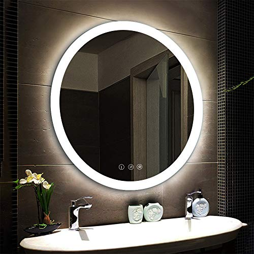 LED Lighted Vanity Bathroom Mirror, Wall Mounted + Anti Fog & Dimmer Touch Switch + UL Listed + IP44 Waterproof + 5500K Cool White +3000K Warm + CRI>90 + Vertical&Horizontal … (Round 30inch)