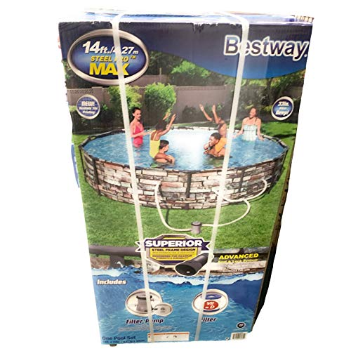 Bestway 56969E Steel Pro Max Above Ground Pool, 14ft x 33in Steel Frame Pool Set, New Realistic Tile Printing
