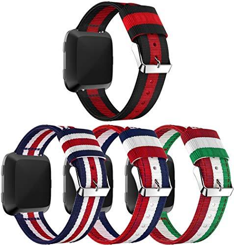 Nylon Trenzado Correa de Reloj Compatible con Fitbit Versa, Clásicos exquisitos Pulseras de la Correa de los Hombres (4PCS A)