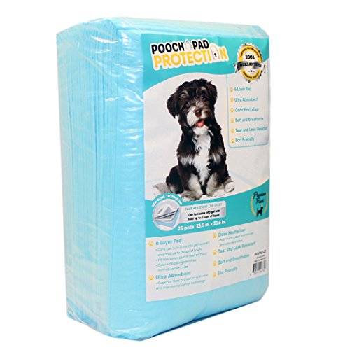 Pooch Pad Protection Best Dog Training Pads 25 Count, Trial & Travel Pack. Premium Quality Liquid Absorbent Wee Wee Pads. Doggie in Training Puppy Pads for Dogs & Cats Ultimate Results