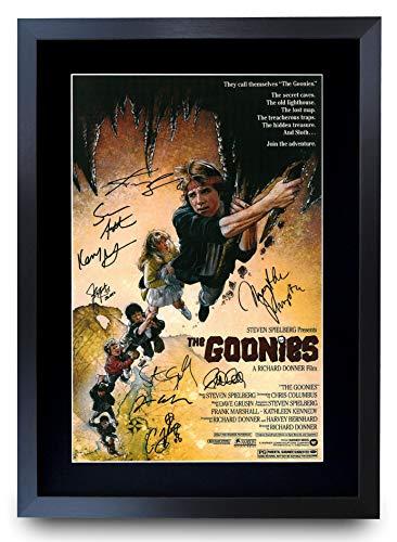 HWC Trading Goonies The Cast Geschenke Printed Poster Autogramm Bild für Film-Memorabilia Fans Signed - A3 Eingerahmt