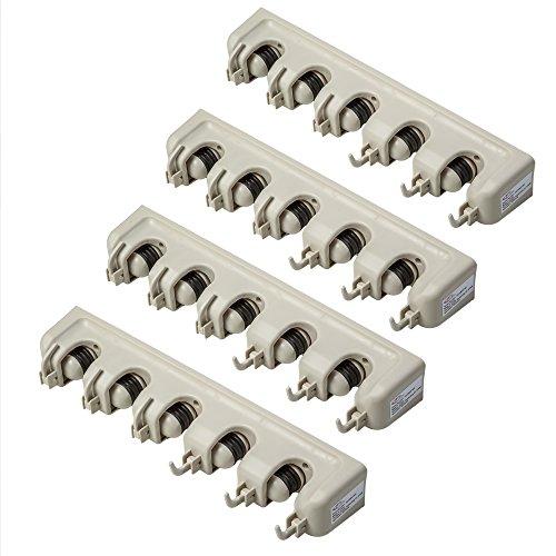 TecTake Porte balais Porte-Outils Mural 5 Boules cliquets pour Outils de Jardin ou Balai 40,5x6x10,5cm - diverses quantités - (4 pièces   no. 401820)