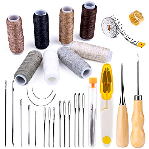30 Pieces Leather Sewing Kit, Leather Sewing Upholstery Repair Kit with 8 Colors...