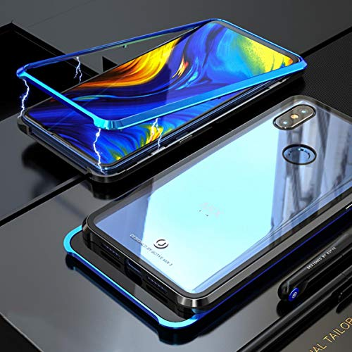 Xiaomi Mi Mix 3 Case, UBERANT Metal Frame & Tempered Glass Back 2 in 1 Ultra-Thin Clear Luxury Scratch Resistant Shockproof Magnetic Adsorption Case for Xiaomi Mi Mix 3 6.39' Blue Black