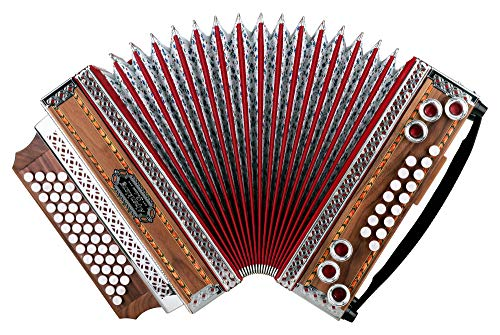 Alpenklang 4/III Harmonika'Deluxe' G-C-F-B Nuss (Steirische Harmonika/Knopfakkordeon, Blumendesign, Holz, mit Koffer und Riemen)
