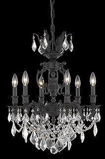 Elegant Lighting Marseille Collection 6-Light Hanging Fixture with Swarovski Strass/Elements Golden Shadow Crystal, Antique Bronze Finish
