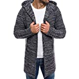 Sumen Men Autumn Winter Hooded Trench Coat Knitted Open Front Sweater Cardigan Dark Gray
