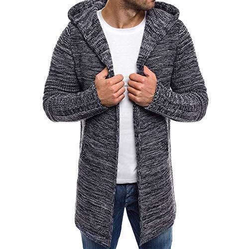 Men's Hooded Knit Trench Jacket Long Sleeve Cardigan Sweater (USL=Tag2XL, DarkGrey)