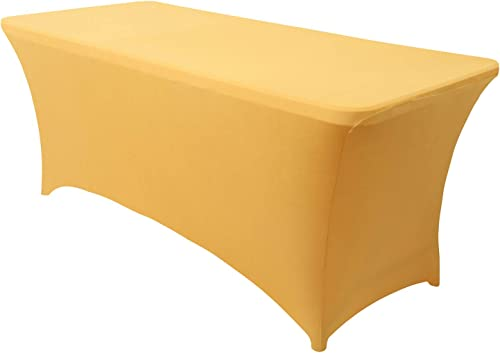 Obstal 6ft Stretch Spandex Table Cover for Standard Folding Tables - Universal Rectangular Fitted Tablecloth Protecto...