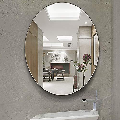 DHVK De Pared Espejo de baño, Oval, WC Espejo, Maquillaje Espejo, Colgante sin Marco Espejo de baño, 5 mm Pulido Espejo,60x80cm