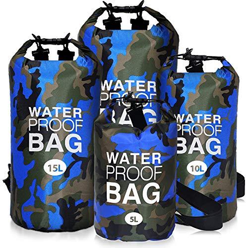 Dry Bag 5L 10L 15L 20L, KIPIDA wasserdichte Taschen Trockener Beutel, Seesack Wasserfester Rucksack Ultraleicht mit Langem justierbarem Bügel für Reisen,Schwimmen,Fisch,Rafting,Outdoor und Camping